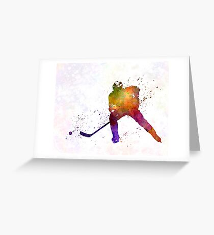 Hockey skater in watercolor Greeting Card