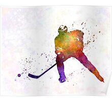 Hockey skater in watercolor Poster
