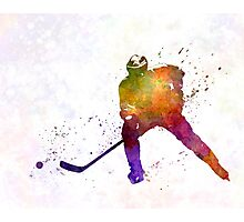 Hockey skater in watercolor Photographic Print