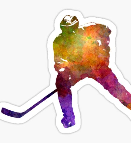 Hockey skater in watercolor Sticker