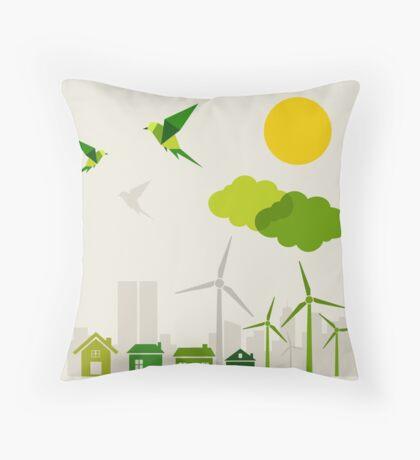 Ecology a city Throw Pillow