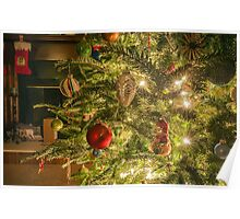 Still life photo of christmas presents and christmas tree in the living room. Poster