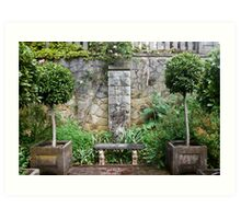 Bench and Topiary Art Print