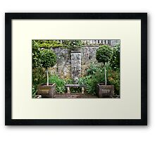 Bench and Topiary Framed Print