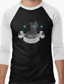 Crazy Cat Lady Banner Men's Baseball ¾ T-Shirt