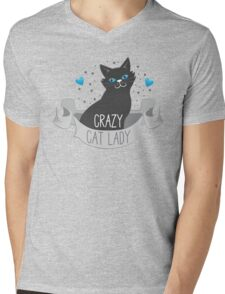 Crazy Cat Lady Banner Mens V-Neck T-Shirt