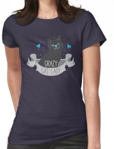 Crazy Cat Lady Banner Womens Fitted T-Shirt