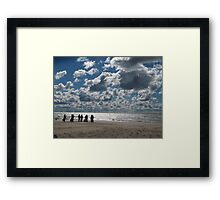 Pristine - wedding on a beach with popcorn clouds Framed Print