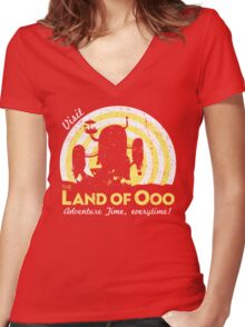 Visit the Land of Ooo Women's Fitted V-Neck T-Shirt