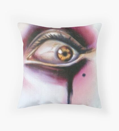 Year Of The Invader oil on wood Sylvia Lizarraga Throw Pillow