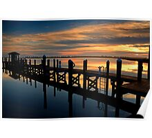 Dawn On The Outer Banks Docks Poster