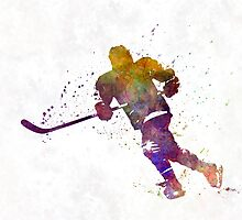 Skater with stick in watercolor by paulrommer