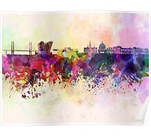 Copenhagen skyline in watercolor background Poster