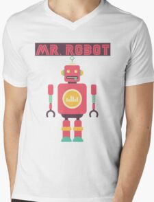 Mr Robot Mens V-Neck T-Shirt