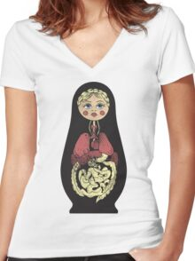 Russian doll Women's Fitted V-Neck T-Shirt