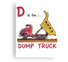 D is for Dump Truck Canvas Print