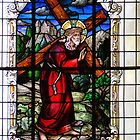 Jesus Carries The Cross - Stained Glass In Cartago by Al Bourassa