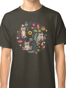 Raccoons bright pattern Classic T-Shirt