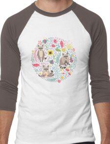 Raccoons bright pattern Men's Baseball ¾ T-Shirt