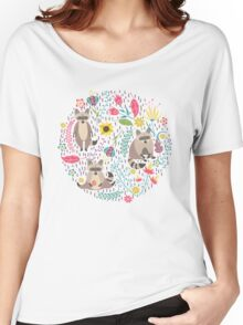 Raccoons bright pattern Women's Relaxed Fit T-Shirt