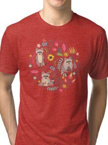Raccoons bright pattern Tri-blend T-Shirt