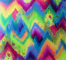 BOLD QUOTATION 2 - Colorful Bright Cheerful Fine Art Chevron Pattern Ikat Quote Modern Painting by EbiEmporium