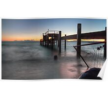 Tahoe Pier Sunset HDR Poster