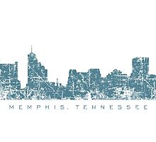 Memphis, Tennessee Skyline Vintage Blue by theshirtshops