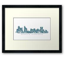 Memphis, Tennessee Skyline Vintage Blue Framed Print