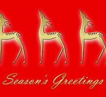 Three deers - season's greetings by Cheryl Hall