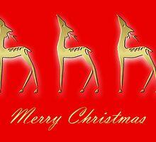 Three deers - Merry Christmas by Cheryl Hall