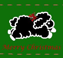 Black lamb Christmas card by Cheryl Hall