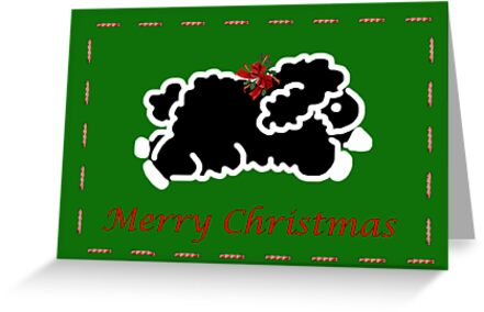 Black lamb Christmas card by Cheryl Hall