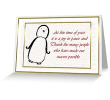 Christmas card for customers from business - penguin Greeting Card