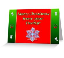 Christmas card from dentist with snowflake Greeting Card