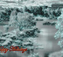 Happy holidays Christmas card with snow by Cheryl Hall