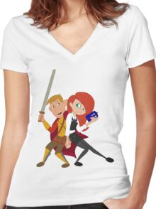 Kim & Ron Cosplay Amy & Rory Women's Fitted V-Neck T-Shirt