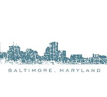 Baltimore, Maryland City Skyline Vintage Blue by theshirtshops