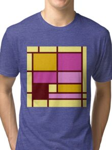 Mondrian style design yellow fuchsia Tri-blend T-Shirt