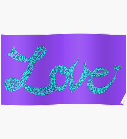 Love in Aqua and Mauve Poster