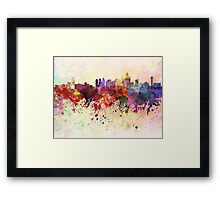 Dallas skyline in watercolor background Framed Print