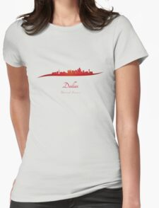Dallas skyline in red Womens Fitted T-Shirt