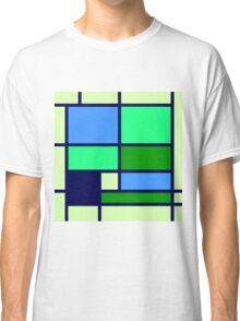 Mondrian style design blue green Classic T-Shirt