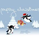 Xmas Card - Birds, Trees & Christmas Gift by ruxique