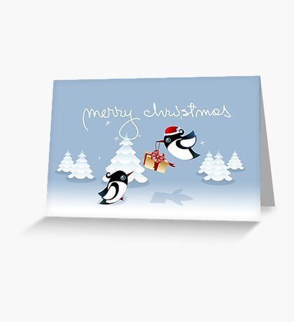 Xmas Card - Birds, Trees & Christmas Gift Greeting Card