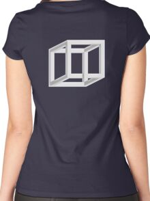 OPTICAL ILLUSION, CUBE, Geometry, Cubic, Square, odd, strange, weird, Volume, Necker cube, Geometry, Volume Women's Fitted Scoop T-Shirt