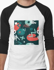 Modern hand draw colorful abstract seamless pattern  Men's Baseball ¾ T-Shirt
