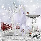 Winter Unicorn, Rabbit and Robin iPhone case by Moonlake