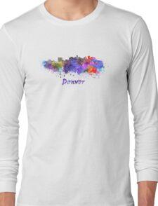 Denver skyline in watercolor Long Sleeve T-Shirt