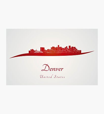 Denver skyline in red Photographic Print